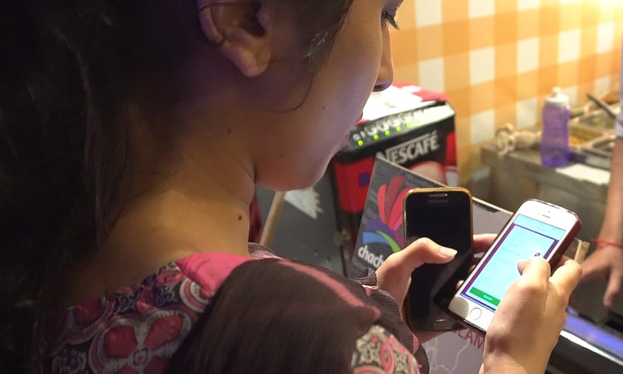 Girl using a digital banking product