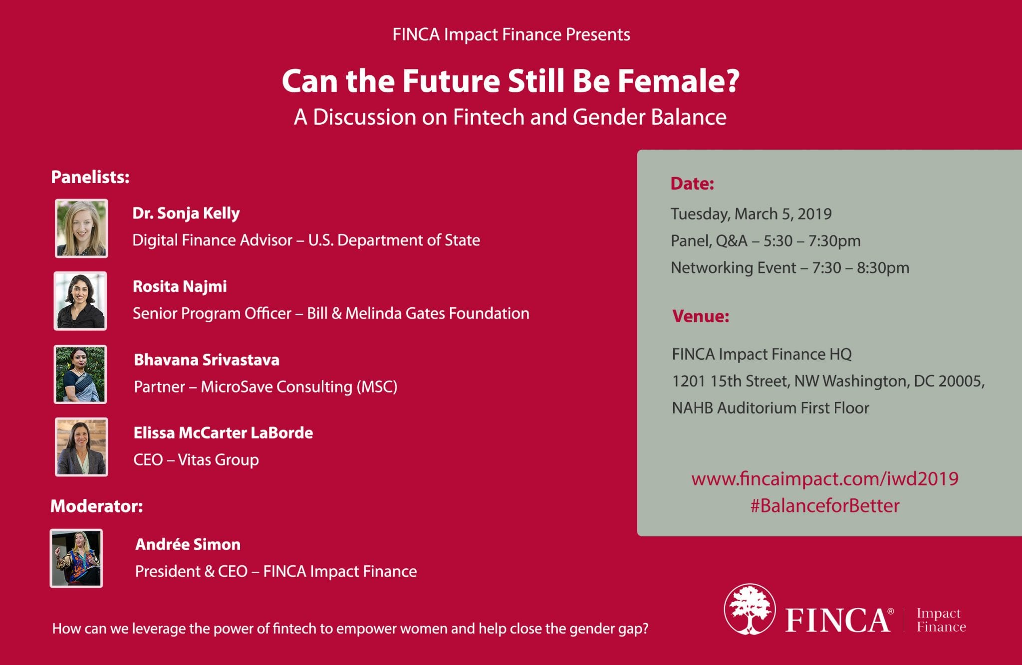 FINCA Impact Finance's International Women's Day panel will discuss the future of fintech and financial inclusion